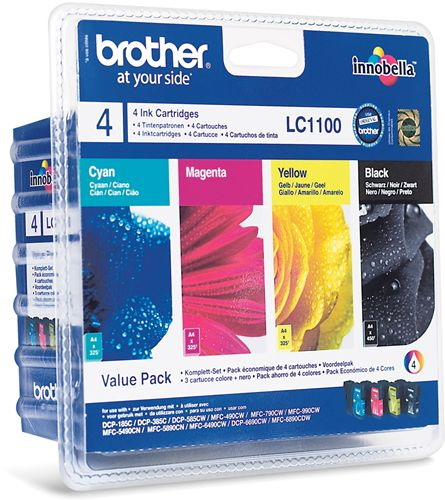 Tinteiro Brother LC1100VALBP (Pack de 4 cartuchos de tinta)